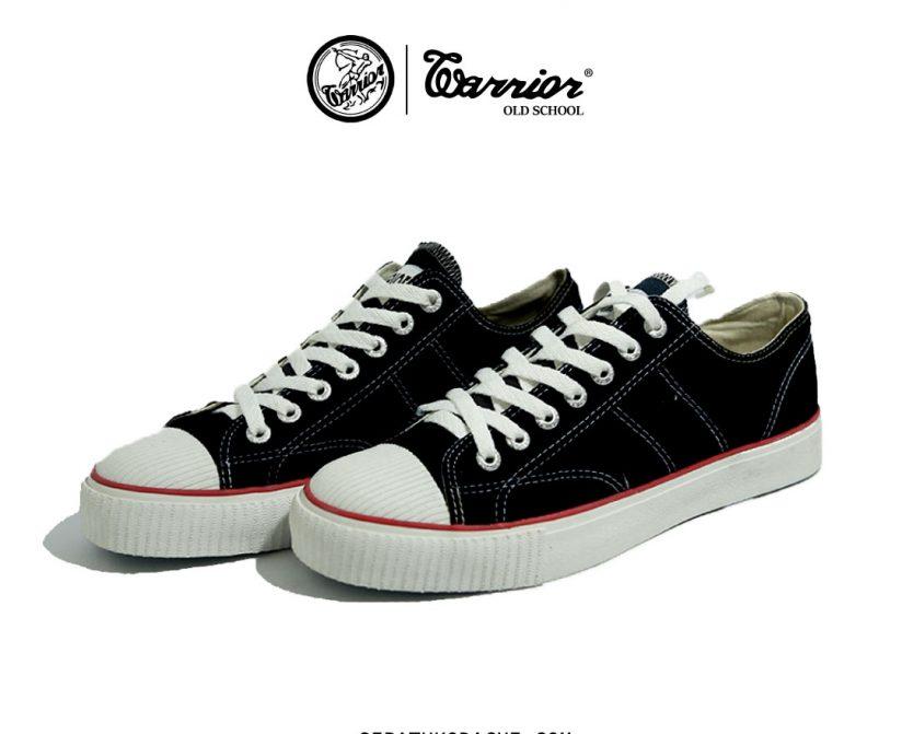 sepatu warrior classic Low hitam putih sekolah